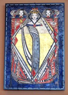 Queen of Diamonds-1909 - Margaret MacDonald Mackintosh    This is one of 4 stenciled and gessoed pictures (1909) done by Margaret MacDonald Mackintosh for Catherine Cranston's Glasgow residence, Hous'hill. The gesso creates a high-relief surface and helps emphasize the linear style she was using at the time. The four queens, flanked by two pages, were originally set into the wall, each representing a different card suit. Virginia Museum of Fine Arts in Richmond, Virginia.