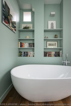 A freestanding bath in a small pastel green bathroom - House, Interior, Green Bathroom, New Homes, Home Deco, Bathroom Plans, Cottage Bathroom Inspiration, Bathroom Decor, Bathroom Inspiration