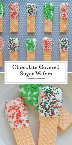 Chocolate Covered Sugar Wafers no bake cookies are quick, easy and festive Chris… Chocolate Covered Sugar Wafers no bake cookies are quick, easy and festive Christmas cookies. Perfect for cookie trays and holiday parties. Christmas Desserts, Christmas Treats, Christmas Baking, Holiday Treats, Holiday Recipes, Holiday Parties, Christmas Recipes, No Bake Christmas Cookies, Christmas Candy