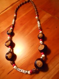 Ohio State Buckeye Necklace by LakeSeaglassandmore on Etsy