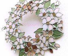 Apfelblüte Glas Kranz/ Tiffanytechnik / Wandschmuck