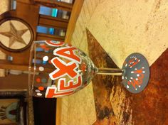 Texas Longhorns painted wine glass