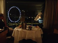 Room service dinner at the Mandarin Oriental.  Truly a 'room with a view'!
