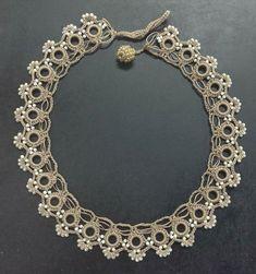 Tatting Jewelry, Lace Jewelry, Tatting Lace, Fabric Jewelry, Jewelery, Bead Crochet, Irish Crochet, Crochet Necklace, Beaded Necklace