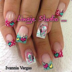 Cute Nail Art Ideas to Try - Nailschick Fabulous Nails, Perfect Nails, Spring Nails, Summer Nails, Valentine Nail Art, Crazy Nails, Manicure E Pedicure, Gel Nail Designs, Nails Design
