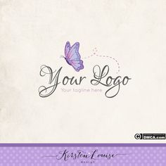 Premade Butterfly Logo  Girly Logo Logo by KirstenLouiseDesign