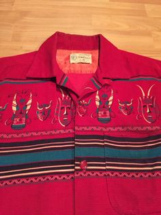 VINTAGE 1950 S  TOWNCRAFT  TRIBAL MASK CORDOROY ROCKABILLY SHIRT -M- NR
