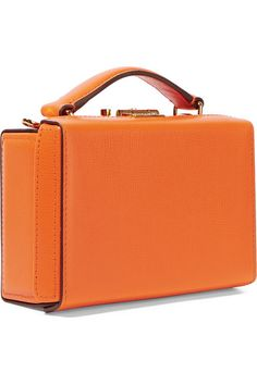 Bright-orange textured-leather (Calf) Push lock fastening at top Designer  color 08bc2ec338d8c