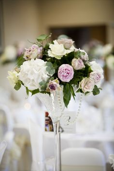 Ivory and pink Hydrangeas, Roses and Peonies martini vase centre piece