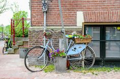 Amsterdam spring bicycle photo, fine art Netherlands photography, travel photo, wall decor by FallingOffBicycles on @Etsy
