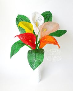 Artisan French Beaded Calla Lily, Floral Home Decor by LaurenHCreations. Custom orders available!