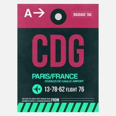 My design inspiration: CDG Paris Baggage Tag on Fab.