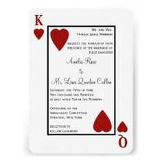 Monogram Heart Playing Card Las Vegas Wedding Invitations