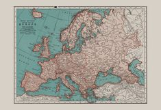 VINTAGE EUROPE MAP Vintage Map of Europe by EncorePrintSociety
