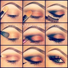 orange and black smokey eye