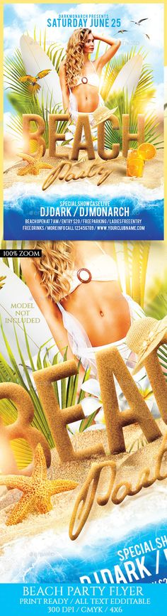 Beach Party Flyer Template PSD. Download here: http://graphicriver.net/item/beach-party-flyer-template/16435179?ref=ksioks