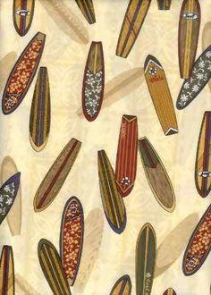 30omo Tropical Hawaiian surfboards on cotton poplin apparel fabric. Hawaiian vintage style fabric. Hawaiian vintage style fabric.