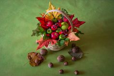 An apple a day...but a whole basket is better! Thanksgiving basket with fruit fall fruit arrangement