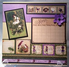 Graphic 45 Place in Time 8 x 8 Calendar Kit by Miriam Napier purchased at Impressive Ideas in Atlanta, GA.    I have modified some of the monthly layouts to suit my tastes or embellish over mistakes :-)