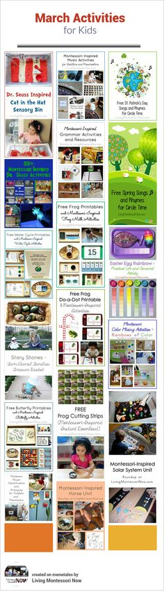 LOTS of calendar observances and Montessori-inspired March themed activities for home or classroom