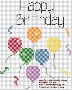 Cross-stitch Happy Birthday.. no color chart available, just use pattern chart as your color guide