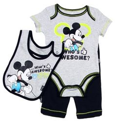 Mickey Mouse Baby Boys Pant Shirt & Bib Clothing Set - Baby boys will look so cute in this Mickey outfit! Disney Baby Clothes, Baby & Toddler Clothing, Cute Baby Clothes, Baby Disney, Cute Outfits For Kids, Toddler Outfits, Baby Boy Outfits, Cute Baby Boy, Cute Babies