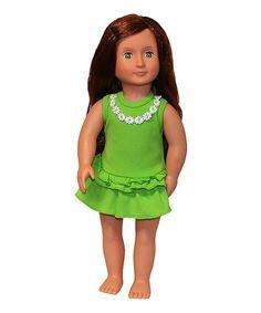 Another great find on #zulily! Green Frill & Flower Doll Dress #zulilyfinds