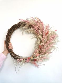 Homewood & Rose Blush Pink Oats And Natural Grass Dried Flower Wreath - Trouva Dried Flower Wreaths, Dried Flowers, Blush Roses, Blush Pink, Rose Delivery, Dried Flower Arrangements, How To Preserve Flowers, How To Make Wreaths, House In The Woods