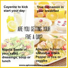 Are you getting your Five a Day? Five A Day, Nigella Seeds, Eat Right, Ayurveda, Eating Well, Turmeric, Health Benefits, Spices, Veggies