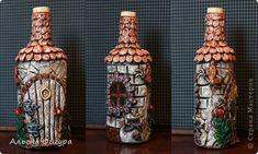 Декор предметов Поделка изделие Аппликация из скрученных жгутиков Лепка Декоративные бутылочки Тесто соленое фото 1