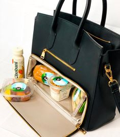 Hand Made Black Vegan Leather/Gold coated High fashion Meal prep Tote - work travel Green Leather, Vegan Leather, Pu Leather, Leather Totes, Vintage Leather, Large Purses, Purses And Bags, Work Bags, Work Purse