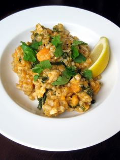 Spiced Chicken Barley Stew with Spinach and Sweet Potatoes
