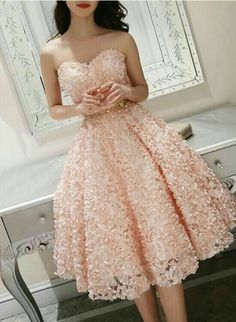 Formal dresses for teens - Cute Pink Floral Lace Short Sweetheart Romantic Party Dress, Teen Formal Dress – Formal dresses for teens Elegant Homecoming Dresses, Formal Dresses For Teens, Beautiful Prom Dresses, Trendy Dresses, Elegant Dresses, Sexy Dresses, Dress Outfits, Evening Dresses, Fashion Dresses