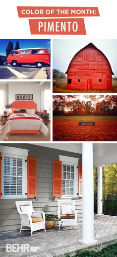 Color of the Month: Pimento - Colorfully BEHR Behr Colors, Paint Colors, Red Colour Palette, Color Palettes, Modern Colors, Bright Colors, Behr Paint, Space Interiors, Red Rooms