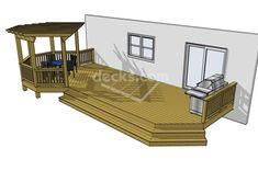 Out the back patio doors.  Instead of sitting area, the hot tub under the pergola or whatever