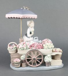 """Lot 98, A Lladro group Flowers of the Season of a flower seller with barrow of flowers beneath a parasol 1454 12""""  est £100-150"""