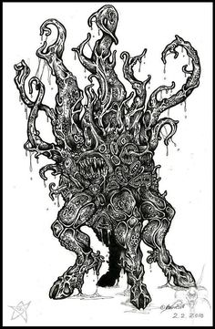 Cthulhu mythos creature : Dark one Dark one is children of Shub Niggurath. (They say that there are thousand of these dark youngs. Hp Lovecraft Stories, Call Of Cthulhu Rpg, Lovecraft Cthulhu, Lovecraftian Horror, Eldritch Horror, Arte Horror, Weird Creatures, Science Fiction Art, Dark Art