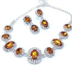 Fashion Silver Tone Rhinestone Topaz Necklace Choker Earring Set New Jewelry