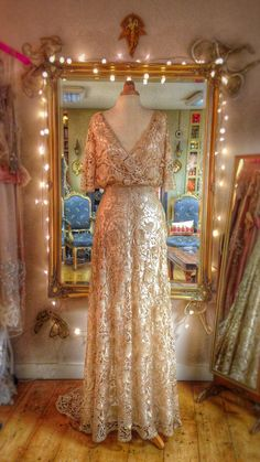 Pale gold Art Nouveau lace and silk wedding dress by Joanne Fleming Design
