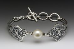 Silver Spoon Jewelry: Vintage Spoon and Fork Jewelry: Verona Spoon Bracelet with Pearl