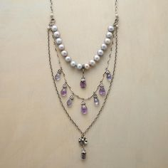 "MODERN REGALIA NECKLACE -- Touches of Victorian elegance mingle with modern charm in a tiered amethyst and pearl necklace in sterling silver, with amethyst, iolite and dusky gray pearls. Exclusive. Approx. 22""L with 2"" drop."