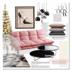 """""""Pink Panther Christmas"""" by judysingley-polyvore ❤ liked on Polyvore featuring interior, interiors, interior design, home, home decor, interior decorating, Whiteley, Regina-Andrew Design, Hawkins and Modloft"""