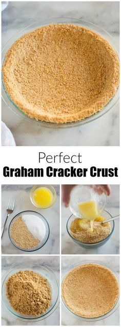 You'll never buy a store-made graham cracker crust again, with this easy and delicious homemade Graham Cracker Crust recipe! Just three ingredients and 15 minutes to make a perfect tender crust. Chocolate Graham Cracker Crust, Homemade Graham Cracker Crust, Graham Cracker Recipes, Grahm Cracker Crust Recipe, Graham Cracker Dessert, Graham Cracker Cookies, Easy Desserts, Delicious Desserts, Dessert Recipes