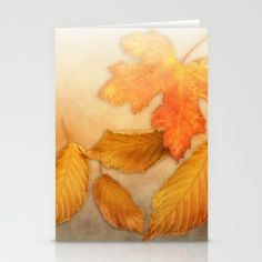 Autumn leaves in yellow and orange Stationery Cards