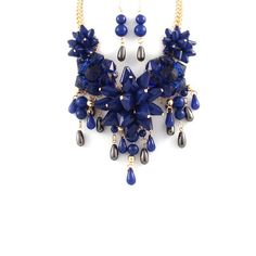 Luxurious Blue Floral Statement Necklace Set #TheAlchemyShop