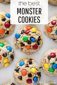These monster cookies are easy to make and super delicious to eat! #monstercookies #cookies #cookierecipes #baking #homemade #homemadecookies #m&ms #chocolate #chocolatechips #oatmeal #peanutbutter #recipes #iheartnaptime