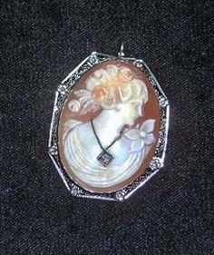 14 karat white gold framed cameo chatelaine pin.