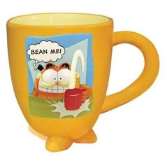 Garfield loves coffee mugs, too! In this one he's demanding that you 'bean' him, LOL. #Garfield #mugs