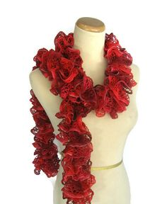 Sale Ruby Red Scarf Knit Scarf Ruffle Scarf by ArlenesBoutique, $21.95 #scarf