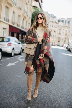 Thanksgiving outfit inspiration || blanket scarf and over the knee boots